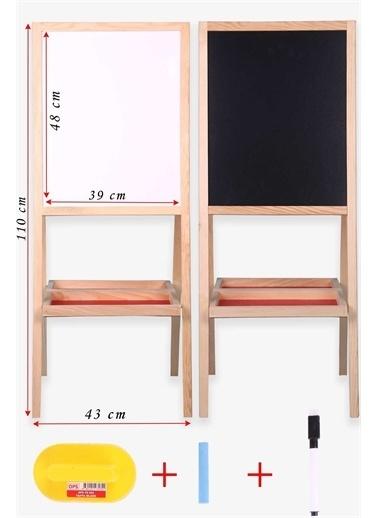 Breeze Çift Taraflı Manyetik Ahşap Çocuk Yazı Tahtası Açık Kahverengi (110 X 44 Cm) Kahve